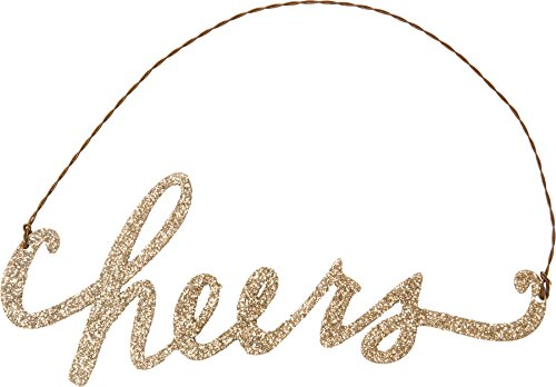 Primitives By Kathy 5.75 Inches x 2.25 Inches Tin Word Ornament Cheers Decorative Sign -