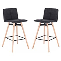 Modern Barstool with Wood Eiffel Legs, set of 2 #18993