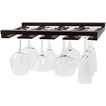 Rustic State Stemware Glass Rack Makes Dull Kitchens or Bar Looks Great Perfectly Fits 6-12 Glasses Under Cabinet Easy to Install with Included Screws Great Hanging Bar Glass Rack (Chestnut Stained)