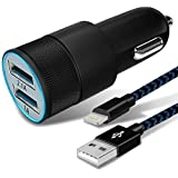 Youer Phone Car Charger, 24W 4.8A Rapid Dual Port USB Car Charger Adapter with 3FT USB Cable Charging Cord for iPhone Xs Xs Max XR X 8 7 Plus 6S 6 SE 5S 5, iPad -Black Blue