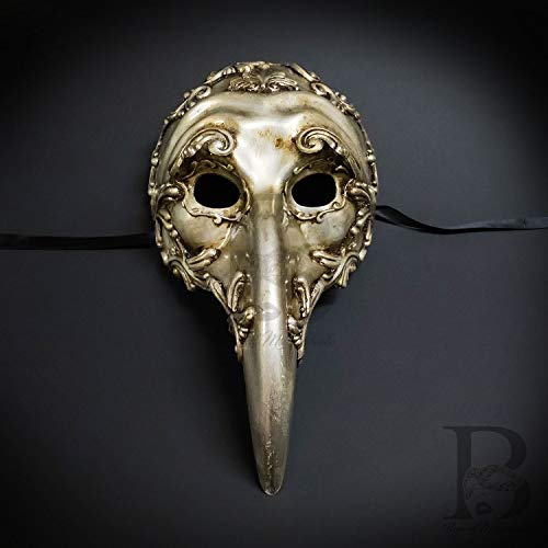 Vintage Silver Plague Doctor Venetian Mask Laser Cut Long-Nosed Diety Maskette Masquerade Halloween Mask ()