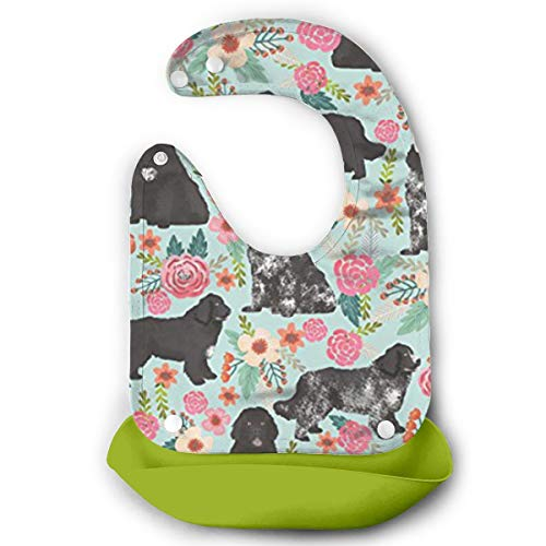 (W3Zap1 Newfoundland Dogs Cut Puppy Waterproof Silicone Baby Bibs Easily Wipes Clean Comfortable Soft Baby Bibs Keep Stains Off)