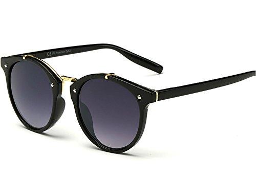 Round Sunglasses for Women Men Keyhole Glasses Clear Mirror Lenses Plastic - Or Black Sunglasses Tortoiseshell