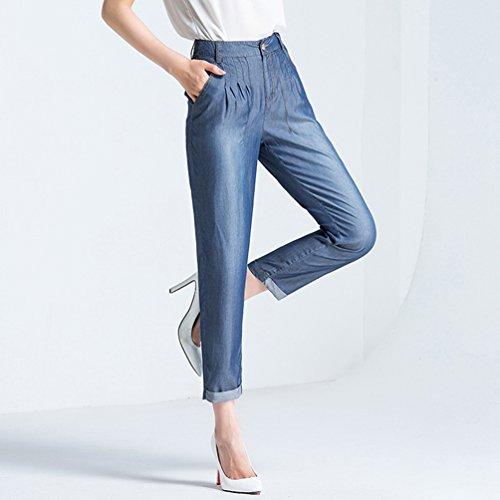 Anguang Pantaloni Donna Metallo Casuale Blu Up Zip Sciolto Bootcut Jeans Denim Tasche rrAdwqUvx