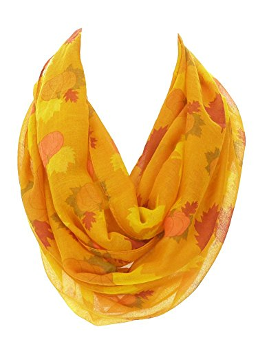 DivaDesigns Womens Light Thin Autumn Leaves and Pumpkins Theme Infinity Scarf