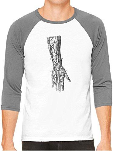 Old Anatomy Arm Diagram Unisex 3/4 Contrast Sleeve Lightweight Baseball Tee, Heather Sleeves, - Diagram Of Arm