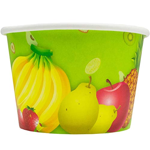 Fresh Fruit Paper Ice Cream Cups - 12 oz Disposable Dessert Bowls - Perfect For Your Yummy Foods! Many Colors & Sizes - Frozen Dessert Supplies - 100 Count