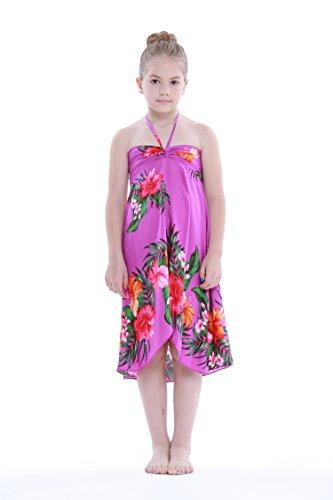 Girl Hawaiian Butterfly Dress in Purple Floral Size 8