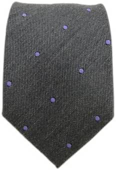 The Tie Bar Charcoal Wool Dots Patterned 2 1/2 Inch Skinny Tie