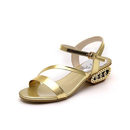 Damenmode Ledersandalen einundvierzig Schuhe Golden Lacquer 5pqww