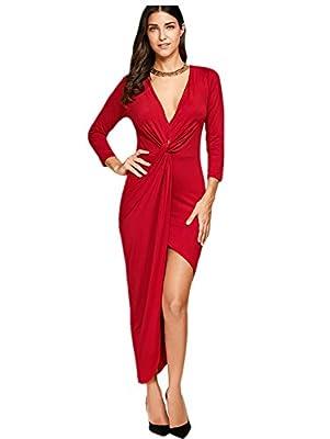 ZAFUL Women Sexy Deep V Neck Front Slit Bodycon Dress Solid Long Sleeve Asymmetrical Party Club Dress