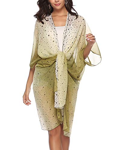 - Womens Chiffon Cover Up Half Sleeve Floral Print Tied Up Boho Long Swimsuit Kimono Cardigan