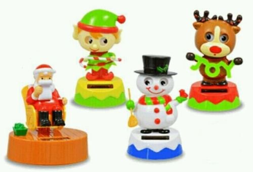 Set of 4 Christmas Solar Blinking Dancers Rocking Santa, Elf, Reindeer & Snowman