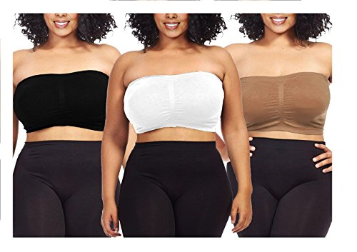 Dinamit Jeans 3-Pack Plus Size Seamless Strapless Bandeau Tube Top Bra-Black-White-Taupe-3XL-4XL - Denim Bandeau