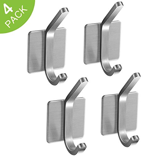 Install Granite Tile Wall (3M Self Adhesive Hooks, JISIMI 304 Stainless Steel Closets Coat Towel Robe Hook Rack Wall Mounted for Kitchen Bathrooms Lavatory Closets (4 Pack))