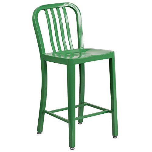 Flash Furniture 24'' High Green Metal Indoor-Outdoor Counter Height Stool with Vertical Slat - Chair Upholstered Back Slat