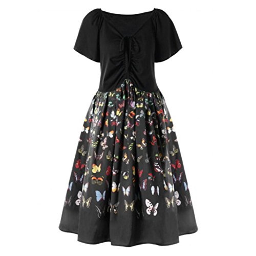 Price comparison product image Women Dress Daoroka Women's Plus Size Sexy Lace Vintage Butterfly Print Casual A-Line Swing Cocktail Ankle-Length Party Skirt New Short Sleeve O-Neck Elegant Fashion Evening Cute Dress (M,  Black)