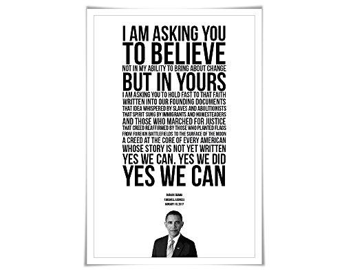 Barack Obama 2017 Farewell Address Speech Art Print. 4 Sizes. Presidential Quote. American History