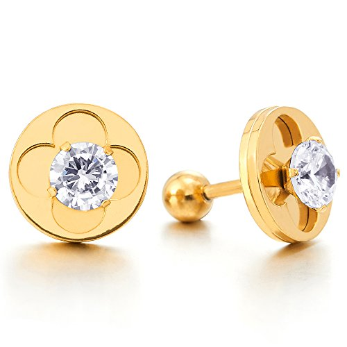 Womens Steel Gold Color Circle Flower Four Leaf Clover Stud Earrings with Cubic Zirconia, Screw Back