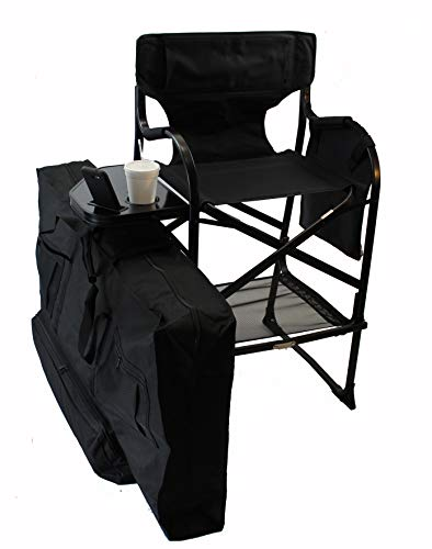 World Outdoor Products Professional Edition Tall Directors Chair, Side Table, Drink, Cell Phone, Document Holder, Removeable Logo Patches, Storage Net & Bag. (Outdoor Chair Director)