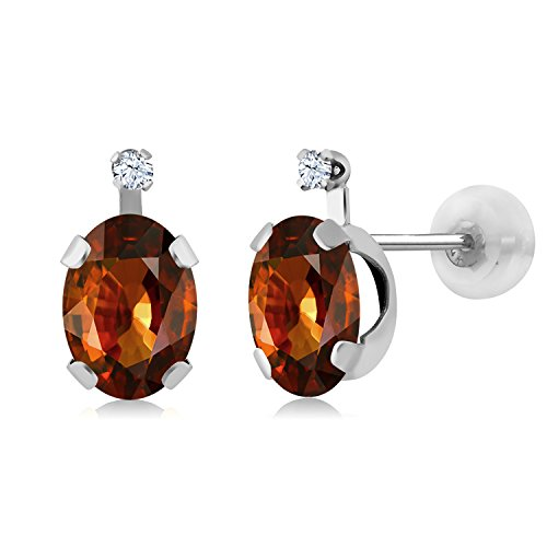 Gem Stone King 2.52 Ct Oval Brown Zircon White Created Sapphire 14K White Gold Earrings