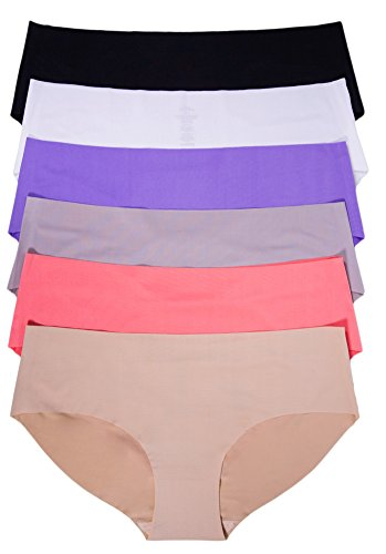 Underwear Laser Hipster Cut (Sexy Basics Women's 6 Pack Laser Cut Seamless Invisible No Show Hipster Panty (XXL, White/Nut/Peach/Purple/Gray/Black))