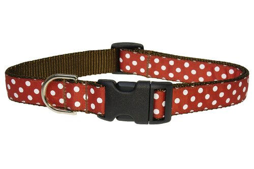 Sassy Dog Wear 10-14-Inch Rust/White Polka Dot Dog Collar, Small