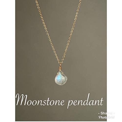 Rainbow Moonstone necklace 14k gold vermeil chain Long charm, Silver,rose gold, Gemstone Pendant Moonstone, Heart shaped moonstone, marquise shape drop pendant moonstone - Genuine Emrald sapphire ()