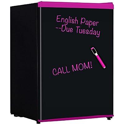 Keystone KSTRC24CBP Compact Refrigerator with Wipe-Off Board Front, 2.4 Cubic Feet, Black