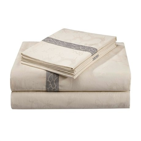 Natori Lotus Temple 300 Thread Count Viscose Which is From Bamboo/Cotton Flat Sheet, Pearl, Queen ()