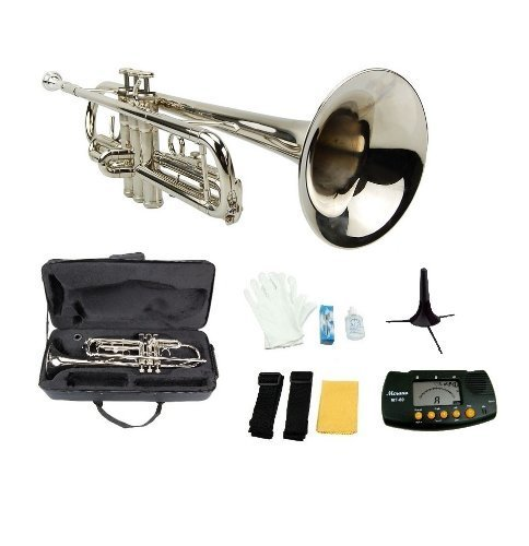 Large Product Image of Merano GWD300SV-MT B Flat Trumpet with Case, Mouth Piece, Silver