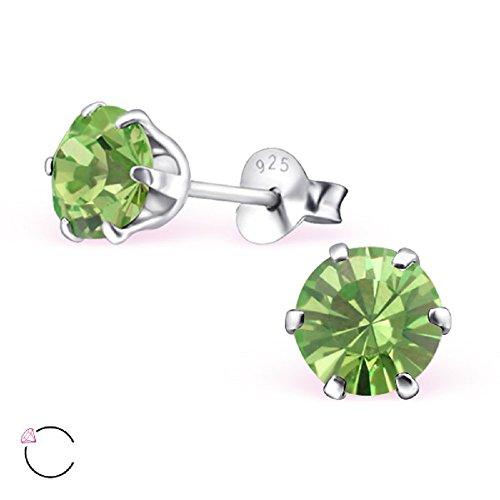 925 Sterling Silver Round w/ Peridot Swarovski Crystals Stud Earrings 24391 ()