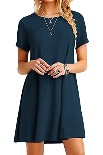 Fitted Short Sleeve Camisole - YMING Women's Short Sleeve Round Neck Dress Tunic Top Loose A Line Dress Dark Blue XS