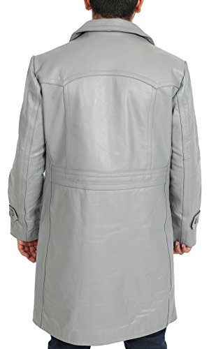 Gris Neo Double 3 Longue Breasted Classique De Hommes Cuir Reefer Trench Manteau 4 Overcoat Oq0XdB