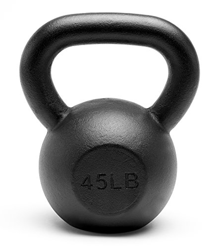 Unipack Premium Quality Powder Coated Solid Cast Iron Kettlebell Weights 45lbs Black