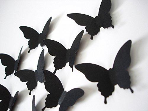 Luxbon 20er Set 3D Schmetterlinge Wandtattoo Karton Papier Matt-Effekt Wanddekoration Aufkleber Kunsthandwerk Aufkleber Haus DIY Verbesserung Dekor-Wand komplett mit Doppelseitiges Klebeband Schwarz