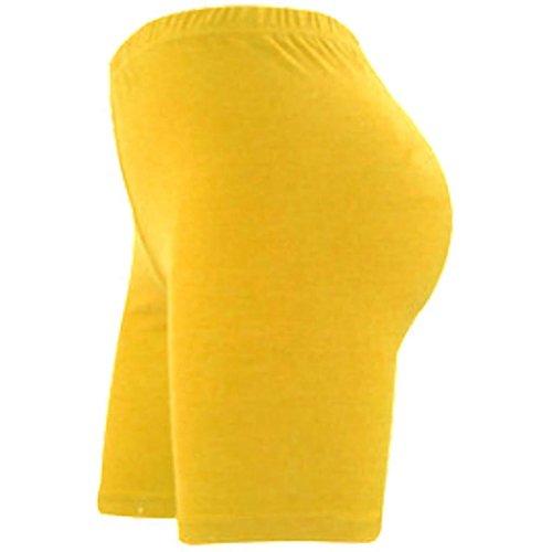 fin donna da ginocchio e elasticizzato lunghi pantaloncini Elegance sportivi cotone sopra lycra al Yellow in tqvpOwE