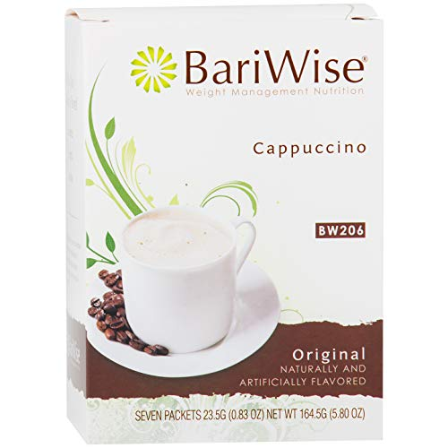 (BariWise High Protein Powder Hot Drink/Instant Low-Carb Cappuccino Mix (15g Protein) - Original (7 Servings/Box) - Low Calorie, Low Carb, Low Fat, Aspartame)