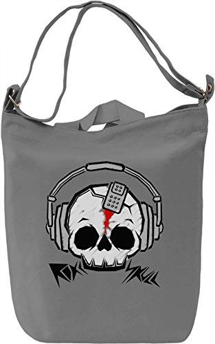 Rock Skull Borsa Giornaliera Canvas Canvas Day Bag| 100% Premium Cotton Canvas| DTG Printing|