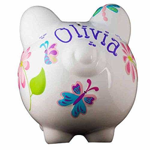 Personalized Keepsake Bank - Butterfly Dragonfly Girls Piggy Bank - Large (Personalized & Custom With Name And Year)(First Financial Toy - Teaching Boys & Girls About Saving Money)(Perfect Unique Gift Idea For Babys 1st Birthday)