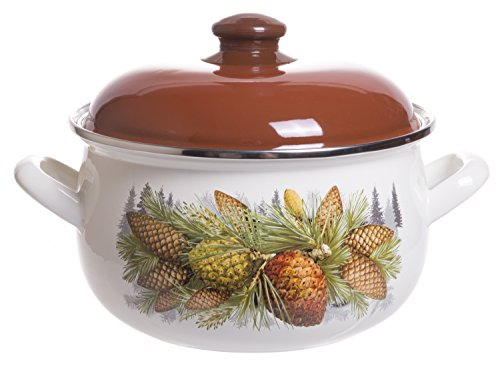Enamel On Steel Round Covered Stockpot, Pasta Stock Stew Soup Casserole Dish with Brown Lid, Up to 4 Quarts - 20 (Brown Bean Pot)
