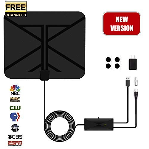 TV Antenna, HDTV Antenna Indoor Digital Amplified 60 Miles with Switch Amplifier Signal Booster 4K HD 1080P VHF UHF All TV's Freeview Local Channels 16.5ft Coaxial Cable