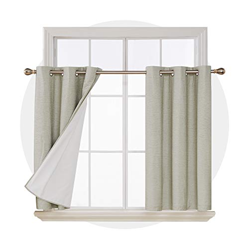 Deconovo Total Blackout Curtains Room Darkening Sun Blocking Light Grey Curtain Panels for Living Room Beige 42W x 45L Inches 2 Panels (Light Blocking Curtains Beige)