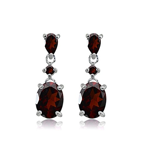 Sterling Silver Garnet Oval Three Stone Dangling Stud (Garnet Pear Earrings)