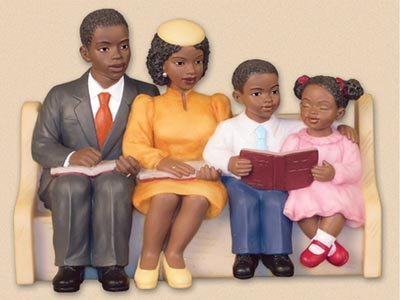 African American Church Pews Figurines Happy Family