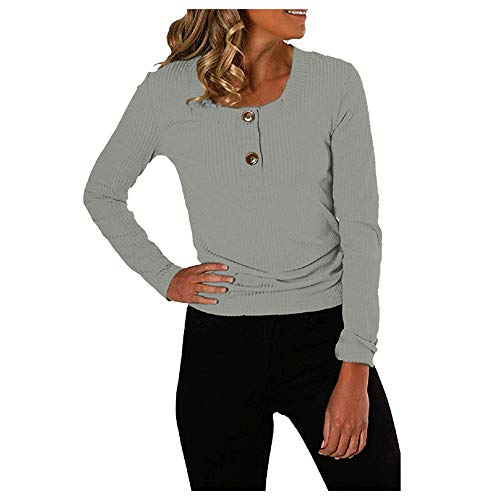 Aniywn Womens Henley Shirts Casual Round Neck Long Sleeve Button Down Tops Solid Color Ribbed Fit Pullover Gray