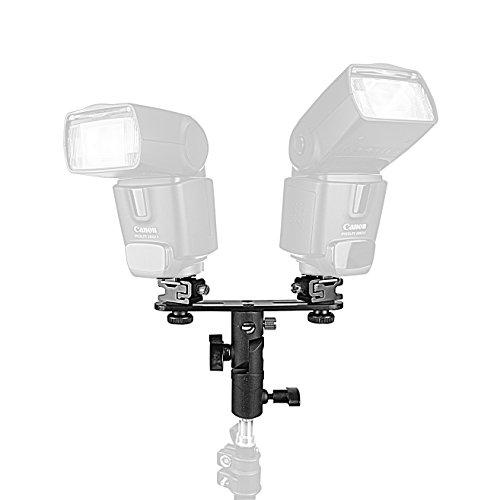 PhotoTrust Double Metal Flash Bracket Swivel Bracket Umbrella Holder Studio Tilting Bracket for Canon, Nikon, Pentax, Olympus, ()