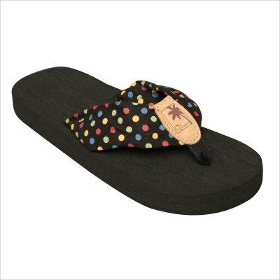 Embossed Blue Dots - Tidewater Sandals Women's Multi Dots Flip Flops,Black/Red/Yellow/Blue,5 M US
