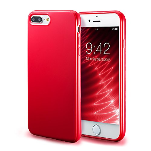 iPhone 7 Plus Red Case/iPhone 8 Plus Red Case, technext020 Shockproof Ultra Slim Fit Silicone TPU Soft Gel Rubber Cover Shock Resistance Protective Back Bumper for iPhone 7 Plus/iPhone 8 Plus Red