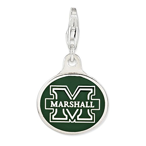 - Solid 925 Sterling Silver Enamel Marshall University. with Lobster Clasp Pendant Charm (16mm x 18mm)